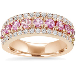 1 1/2ct Pink Sapphire & Diamond Wedding Ring 14K Rose Gold (G/H, I2)