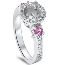 3/4ct Pink Sapphire & Diamond Engagement Ring Semi Mount 14K White Gold (G/H, SI)