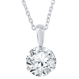 3/4 ct Solitaire  Lab Grown Diamond Pendant available in 14K and Platinum (F, SI1-SI2)