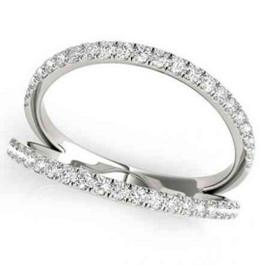 1/4ct Diamond Ring Open Fashion Right Hand Split Band White Gold (I, I2-I3)