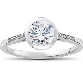1 1/10 ct Lab Grown Diamond Aria Engagement Ring 14k White Gold (F, VS)