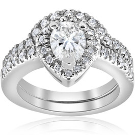 1 1/4ct Pear Shape Diamond Halo Wedding Engagement Bridal Set 14K White Gold (H, I1)