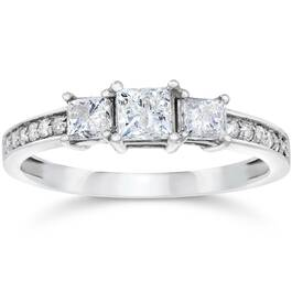 3/4ct Three Stone Princess Cut Diamond Engagement Ring 14K White Gold (H, SI2)