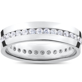 Mens 1 1/4ct Real Diamond Channel Set Eternity Ring Wedding Band Anniversary (G/H, I1)