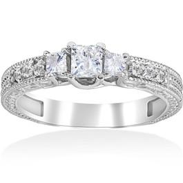 3/4ct Vintage Diamond 3 Stone Engagement Ring 14K White Gold (G/H, SI2-I1)
