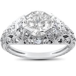 Vintage Enhanced Diamond Engagement Ring 1 1/5ct 14K White Gold (H/I, I1-I2)