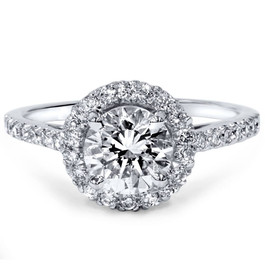 1 1/2ct Diamond Halo Engagement Ring 14K White Gold (H/I, I1-I2)