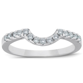 1/4ct Curved Diamond Notched Wedding Ring Enhancer 14K White Gold (J-K, I2-I3)