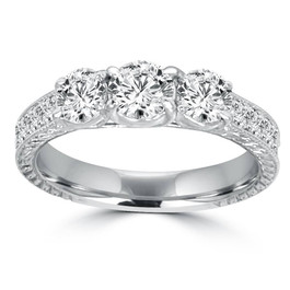 1 1/2ct Vintage Three Stone Round Diamond Engagement Ring 14K White Gold (H/SI2) (H, SI2)
