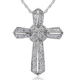 1/2ct Vintage Pave Diamond Cross Pendant 14K White Gold (G/H, I2)