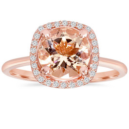 1 3/4 CT Morganite & Diamond Cushion Halo 14K Rose Gold Ring (H/I, I1)