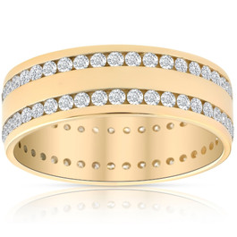 1 1/2ct Diamond Double Row Eternity Ring 14k Yellow Gold 7.5mm Wide Flat Band (G/H, I1)