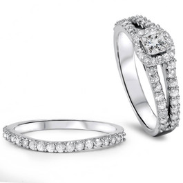 1 Carat Princess Cut Diamond Halo Engagement