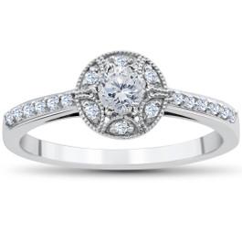 1/2CT Vintae Diamond Halo Engagement Ring 10K White Gold (H/I, I2-I3)