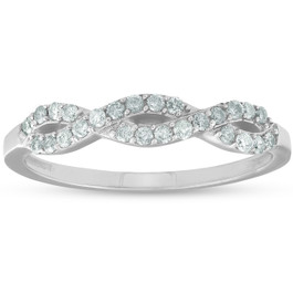 1/4ct Infinity Diamond Wedding Stackable Ring 14K White Gold (G/H, I2-I3)