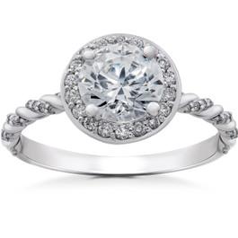 3/4 ct Lab Grown Diamond McKenna Halo Engagement Ring 14k White, Yellow, Rose Gold (F, VS)