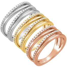 1/4ct Diamond Multirow Ring Available in 14k White, Yellow or Rose Gold (H/I, I1-I2)