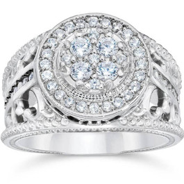 1 Carat Vintage Halo Diamond Pave Engagement Ring 10K White Gold (H/I, I1-I2)
