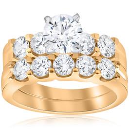 2 3/4ct Diamond Engagement Matching Wedding Ring Set 14k Yellow Gold (G/H, I2)