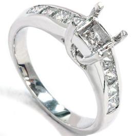 1ct Princess Cut Diamond Cathedral Engagement Ring Setting (G/H, SI)