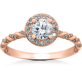 1 ct Lab Grown Diamond McKenna Halo Engagement Ring 14k White, Yellow, Rose Gold (F, VS)