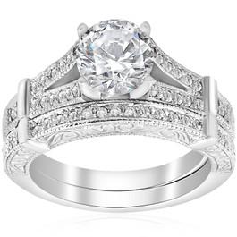 1 1/2ct Diamond Vintage Engagement Matching Wedding Ring Set 14k White Gold (H/I, I1-I2)