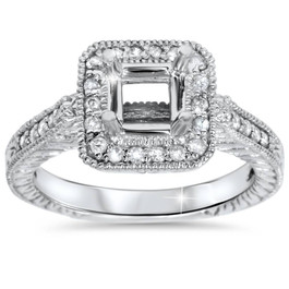 1/3ct Vintage Princess Cut Engagement Ring Setting 14K White Gold (G/H, I1-I2)