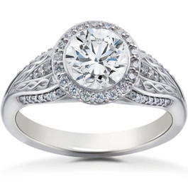 3/4 ct Lab Created Diamond Vintage Halo Zoe Engagement Ring White Gold 14k (F, VS)