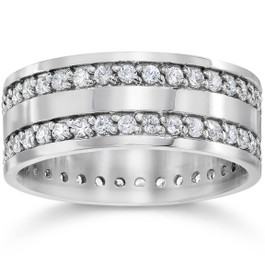 10K White Gold 1 1/2ct Diamond Eternity Ring Wedding Band (G/H, I1)
