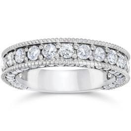 2 1/8 Carat Vintage Diamond Wedding Ring 14K White Gold (G-H, I1-I2)