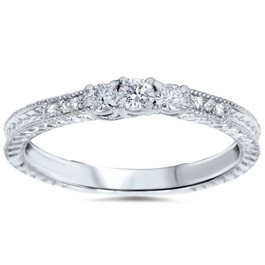 1/4ct Vintage Three Stone Round Diamond Engagement Ring 14K White Gold (H, SI2)