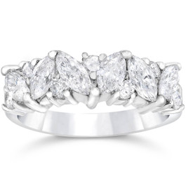 1 1/2ct Fancy Marquise Diamond Wedding Ring Womens Stackable Band 14k White Gold (G/H, SI)