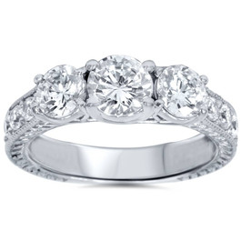 2ct Vintage Three Stone Round Diamond Engagement Ring 14K White Gold (H, I3)