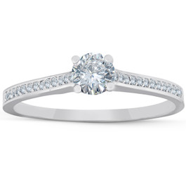 1/2 Ct Diamond Engagement Ring With Side Stones 14k White Gold (G/H, I2-I3)