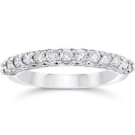 5/8Ct Diamond Wedding U Prong Trellis Stackable Wedding Ring 10K white Gold (H/I, I1-I2)