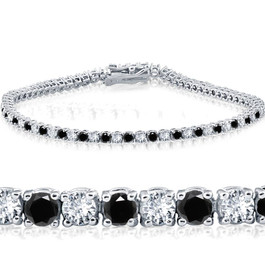 "3ct Black & White Diamond Tennis Bracelet 14K White Gold 7"" (G/H, I1)"