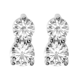 1/2CT Forever Us Two Stone Diamond Studs Womens Earrings 14K White Gold (G/H, I1)