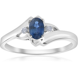 1/2ct Oval Blue Sapphire Diamond Ring 14K White Gold (G/H, I2-I3)