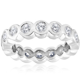 2ct Bezel Diamond Eternity Stackable Wedding Ring 14k White Gold (G/H, SI)