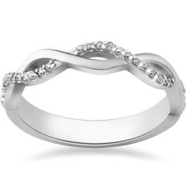 1/8ct Diamond Infinity Wedding Ring 10k White Gold (I/J, I2-I3)