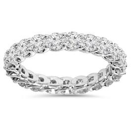 2 1/2 Carat U Prong Diamond Eternity Ring 14K White Gold (H/I, I1)