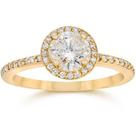 7/8 Carat Diamond Halo Engagement Ring 14K Yellow Gold (H/I, I1-I2)
