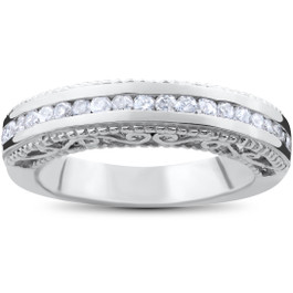 1/2ct Vintage Heirloom Diamond Wedding Ring 14K White Gold (G/H, I1-I2)
