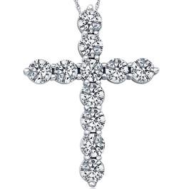"3.00CT Diamond Cross Pendant 18K White Gold Womens Round Brilliant Cut 18"" Chain (F, VS)"
