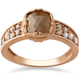 1 1/4ct Raw Round Cut Diamond Slice Engagement Ring 14k Rose Gold (F, I2-I3)