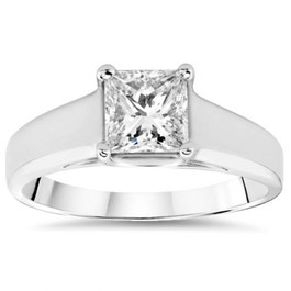 1 ct White Gold Princess Cut Enhanced Diamond Solitaire 14k Engagement Ring (H/I, SI(2)-I(1))