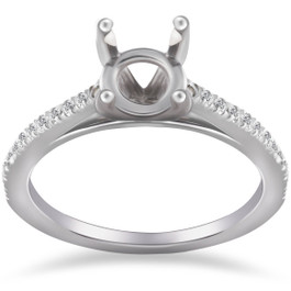 1/5ct Cathedral Pave Diamond Ring Mount 14K White Gold (G/H, I1-I2)