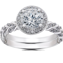1 ct Lab Grown Diamond McKenna Halo Engagement Ring & Matching Band 14k Gold (F, VS)