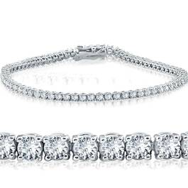"3ct. Diamond 18K White Gold Round Cut Tennis Bracelet 7"" (G/H, I1)"