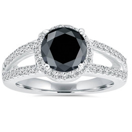 2ct Halo Split Shank Diamond Ring 14K White Gold (G/H, I1)